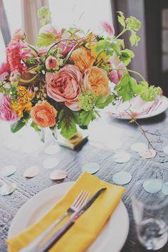 romantic organic pink and yellow floral arrangement garden roses design sponge