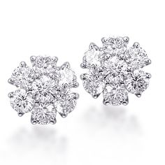 P381E  Our Premier Two Carat Diamond Cluster Earrings