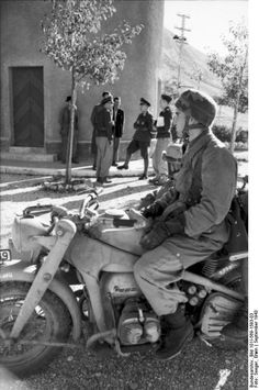 German paratrooper with a KS750 motorcycle, Italy, Sep 1943 Photographer Erwin Seeger Source German Federal Archive Identification Code Bild 101I-569-1593-03 Added By C. Peter Chen