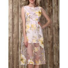 $13.92 Sweet Round Neck Sleeveless Floral Print Women's Midi Dress