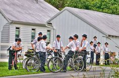 Old Order Mennonite young men and boys.