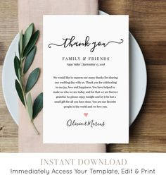 Wedding Thank You Letter, Thank You Note, Printable Wedding In Lieu of Favor Card, Fully Editable Te Wedding Programs, Wedding Cards, Wedding Favors, Wedding Ideas, Wedding Thank You Cards Wording, Wedding Program Thank You, Wedding Speeches, Wedding Gifts, Wedding Stuff