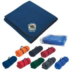 approx $9.42 ea. Fleece Embroidered Stadium Blanket Promotional Custom Imprinted With Logo