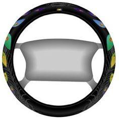 Black Peacock Steering Wheel Cover