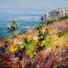 """Sunny Spring Day, Trevean Cliffs, Cornwall"" by British contemporary artist Rex Preston."