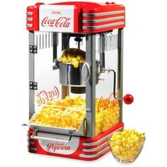With its stylish design, the Nostalgia Electrics Coca-Cola Series Kettle Popcorn Maker will be the hit of every party. It features a large, stainless steel Kettle with a built-in stirring system and p Specialty Appliances, Small Appliances, Kitchen Appliances, Kitchen Gadgets, Kitchens, Kitchen Stuff, Kitchen Electronics, Kitchen Things, Kitchen Tools