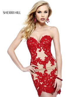 The Red and Nude Lace Cocktail Dress worn by the Contestants in this year's Miss USA Pageant - Strapless Lace Dress - Sherri Hill 21187
