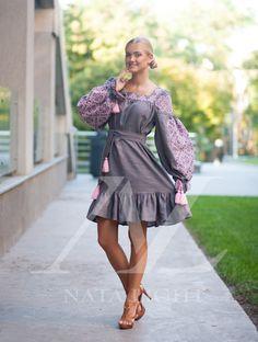 Grey dress embroidery pink. Boho by NataLightEmbroidery on Etsy