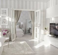 New Ideas Into Stripes Living Room Never Before Revealed 209 Small Living Rooms, Home And Living, Living Room Designs, Living Room Decor, Living Spaces, Bedroom Decor, Casa Clean, Small Apartment Decorating, Dream Decor