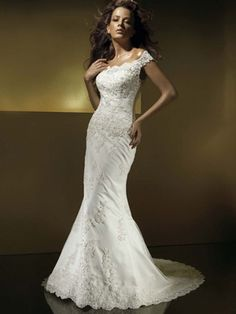Mermaid / Trumpet Scoop Off the Shoulder Scalloped-Edge Dropped Non-Strapless Satin Organza Wedding Dress