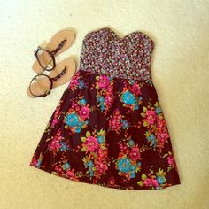 Strapless floral dress This is a cute mixed floral dress cute and summer for a summer night or match it with a sweater and tights for fall! Super fun! Dresses