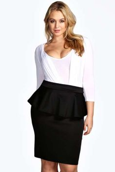 Plus Elsa Peplum Skirt at boohoo.com