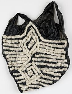 Embroidered Plastic Bag with chunky monochrome stitching; sewing; experimental textile design // Josh Blackwell