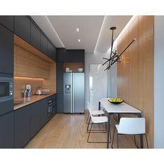 5 Fascinating Tricks: Minimalist Kitchen Interior Spaces minimalist bedroom budget tips.Minimalist Home Design Sliding Doors. Kitchen Cabinet Design, Kitchen Layout, New Kitchen, Kitchen Decor, Kitchen Ideas, Kitchen Wood, Hidden Kitchen, Kitchen Colors, Kitchen Lamps
