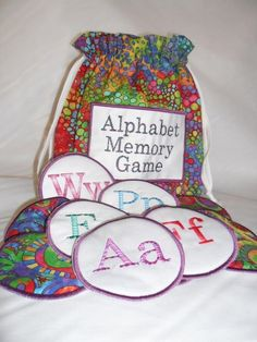 """""""Alphabet Memory Game"""" Project set! Memory games are classic, though they come in many versions. You'll enjoy this version you can make yourself to stave off hours of boredom   from little ones during travels or long waits! It might even help your memory, and the kids are sure to love it. Instructions are included!"""