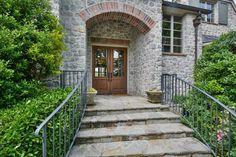 "Traditional Front Door with 8'0"" Tall 6-Lite Mahogany Prehung Wood Double Door, exterior stone floors, Pathway"