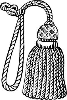 BORLA: Conjunto de hebras o cordoncillos reunidos por uno de sus cabos. Generalmente aparecen como el extremo de un tocado o de un traje.