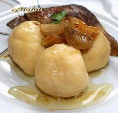 Alajuli: Burgonya gombóc Hungarian Cuisine, Cod Fish, Pretzel Bites, Bacon, Food And Drink, Potatoes, Bread, Meals, Vegetables