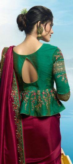 Magenta Color Barfi silk designer party wear saree