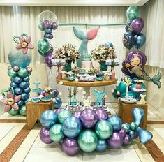 QIFU Metal Balloons Event Party Supplies Round Metallic Ballons Metal Baloon Wedding Birthday Party Decorations – Home & Garden Mermaid Theme Birthday, Little Mermaid Birthday, Little Mermaid Parties, Balloon Decorations, Birthday Party Decorations, Party Themes, Birthday Parties, Party Ideas, Mermaid Table Decorations