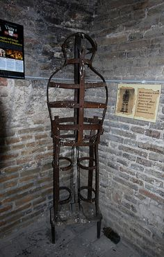 torture device, Gradara, Italy by doug sinclair, via Flickr. This is the type of cage device Elizabeth Bathory would have used for her misdeeds.