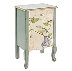 Organise bedroom essentials and display a statement lamp on this wooden chest of drawers, featuring a green finish and a bird design. Reclaimed Furniture, Upcycled Furniture, Shabby Chic Furniture, Cool Furniture, Painted Furniture, Furniture Ideas, French Bedside Tables, Home Board, Wooden Chest