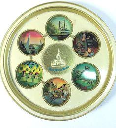 Vintage Walt Disney World Souvenirs Round Metal Drink Tray Disneyana