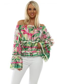 Stylish green & pink print bardot top available now on Designer Desirables. Browse Port tops online and enjoy free UK delivery on all orders Bardot Top, Going Out Tops, Green Tops, Pink And Green, Skinny Jeans, Boutique, Stylish, Casual, Women