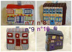 Jouet ou décoration: Petite maison en patchwork de tissus brodés au choix 7,8,9 ou 10.