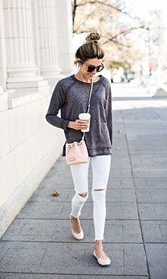 Easy weekend style calls for neutral accessories and a cute throw-on-and-go loose longsleeve.