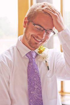 My groom June wedding purple tie yellow flowers