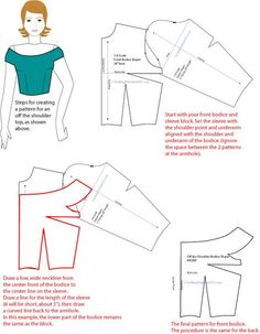 seps for creating a pattern for an off the shoulder top, as shown sbove