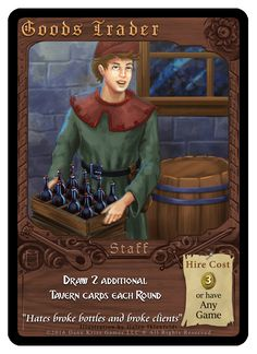 """""""Goods Trader"""" card from Tavern Masters fantasy card game by Dann Kriss. Art by Galen Ihlenfeldt. Dann Kriss Games LLC ® All Rights Reserved Card Games, Masters, Fantasy, Cards, Movie Posters, Master's Degree, Film Poster, Fantasy Books, Maps"""