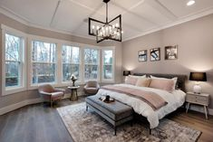 Drees Homes Woodbury Master bedroom with bay windows, statement ceiling, and light fixture bedroom windows Bay Window Bedroom, Bay Window Decor, Bedroom Windows, Bay Windows, Window Seats, Light Fixtures Bedroom Ceiling, Bedroom Lighting, Master Bedroom Addition, Guest Bedrooms