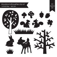 digital woodland silhouettes...deer, squirrel, rabbit, acorns, mushroom