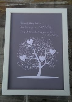 A wonderfully personalised solution to the awkward problem of finding a suitable present for your Mum, who is also your children's treasured Nanny. Each print comes with papercut hearts with the grandchildren's names on. The print can accommodate up to 7 names.