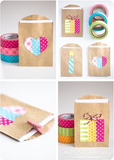 Simple party favor gift bags made with washi tape! Perfect for DIY wedding, birthday, graduation, and more. Just use little brown paper bags and let the washi tape be your fun design. Craft Gifts, Diy Gifts, Handmade Gifts, Handmade Art, Crafts For Teens, Diy And Crafts, Teen Crafts, Washi Tape Crafts, Washi Tapes