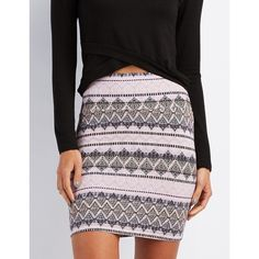 Charlotte Russe Printed Bodycon Mini Skirt ($11) ❤ liked on Polyvore featuring skirts, mini skirts, gray combo, tribal print mini skirt, tribal skirt, short skirts, striped skirt and short mini skirts