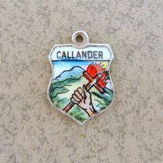 Sterling Silver Callander Scotland Travel Shield Bracelet Charm Enamel #Charms - eBay $19.90