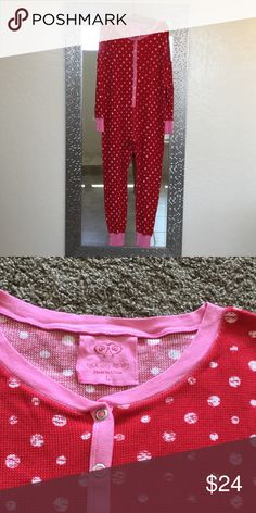 VC long johns Jammie's Red & white waffle texture trimmed in pink.  Snap enclosure in front.  Very good condition. Victoria's Secret Intimates & Sleepwear Pajamas
