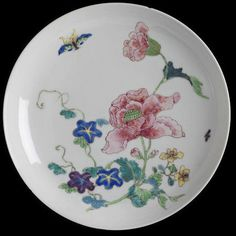 Dish of 'eggshell' porcelain, painted in overglaze enamels in the famille rose palette with sprays of convolvulus, peony, morning glory, peach and two insects.China, Qing dynasty, 1730-1750