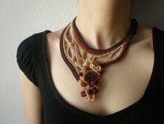 Achillea Nobilis  ... Freeform Crochet Beaded Necklace - Cream Beige Brown Burgundy Green - Beadwork Statement Necklace by irregularexpressions