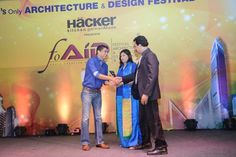 In September HMW attended the 2014 Festival of Architecture and Interior Designing (FOAID). In this photo noted architects Oscar and Ponni Concessao receiving their award from Handmade World founder Mr. Adarsh Mishra