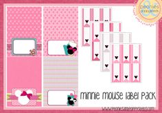ces étiquettes toutes roses à l'image de Minnie vont faire craquer toutes les fillettes !... (un kit complet pour un anniversaire, réparti en 6 posts)