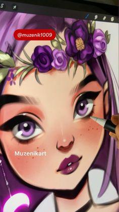 Digital Painting Tutorials, Digital Art Tutorial, Art Tutorials, Drawing Tutorials For Beginners, Cool Art Drawings, Pencil Art Drawings, Art Sketches, Drawing Ideas, Art Painting Gallery