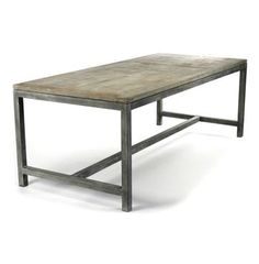 Abner Industrial Modern Rustic Bleached Oak Gray Dining Table