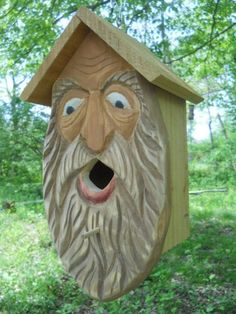 wood spirit carving. mountain man carving, folk art primitives.rustic bird house