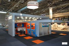 INTERFOOD @ FOODPRO Interfood   This prize winning stand brakes with the tradition of displaying machinery and uses interactive display pods instead. The bulk of the stand has been freed up for hospitality, serving food prepared with Interfood machinery