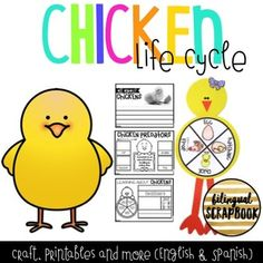 I hope you and your students love these fun English and Spanish activities! What's included?*Chicken craft (picture and patterns) *Chicken vocabulary cards (egg, embryo, hatching, chick, adult, nest) *If I were a chicken (half-page writing prompt) *If I had a pet chicken (half-page writing prompt) *All about chickens (writing prompt) *Chicken body parts (writing prompt) *If I were oviparous (writing prompt)
