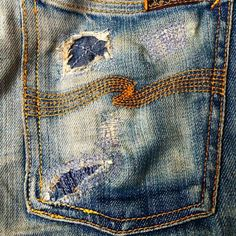 patching and mending Faded Jeans, Ripped Jeans, Denim Vintage, Nudie Jeans, Denim Jeans, Patchwork Jeans, Raw Denim, Denim And Supply, Best Jeans